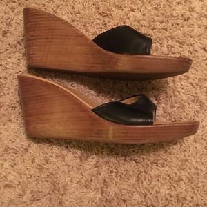 J. Crew leather wedge sandals sz. 9 like new!